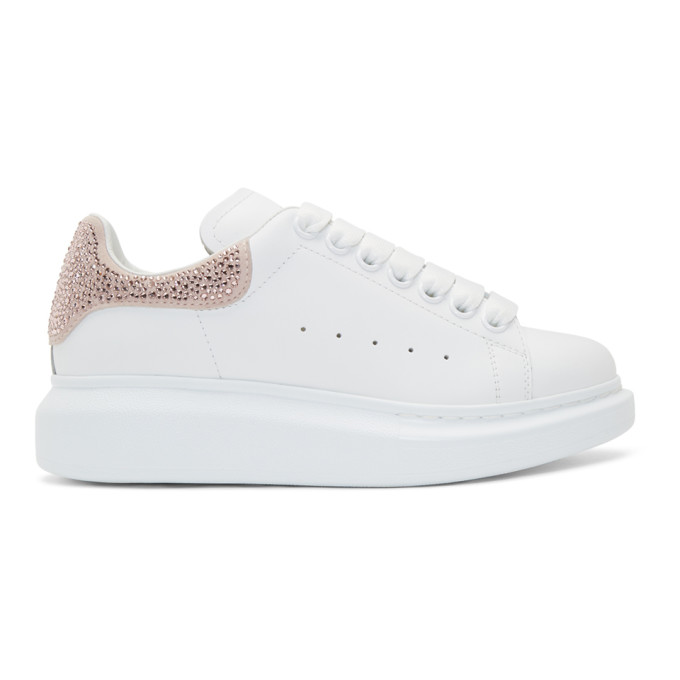 Alexander McQueen White & Pink Crystal Oversized Sneakers