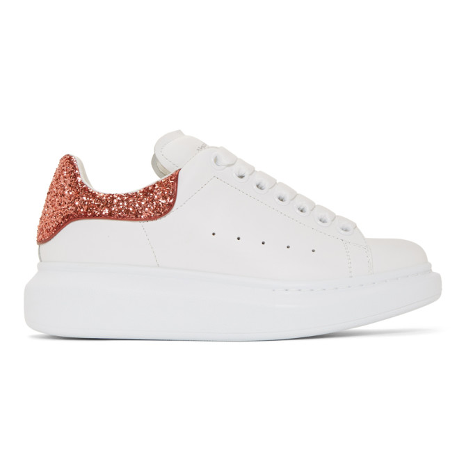 Alexander McQueen White & Red Glitter Oversized Sneakers