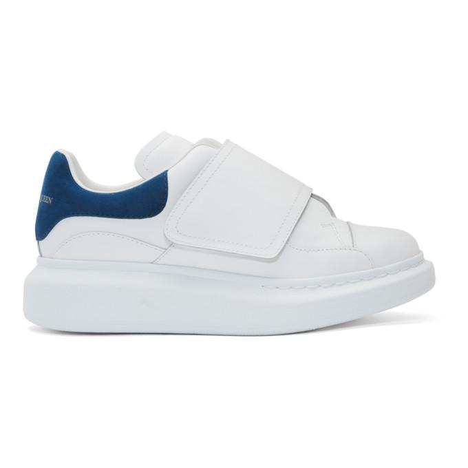 Alexander McQueen White & Blue Flap Tab Oversized Sneakers