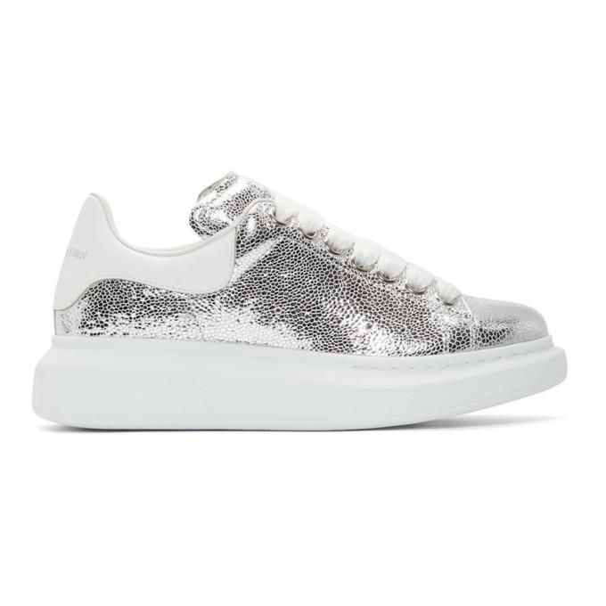 Alexander McQueen Silver & White Oversized Sneakers