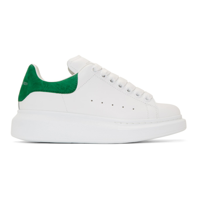 Alexander McQueen SSENSE Exclusive White and Green Oversized Sneakers thumbnail