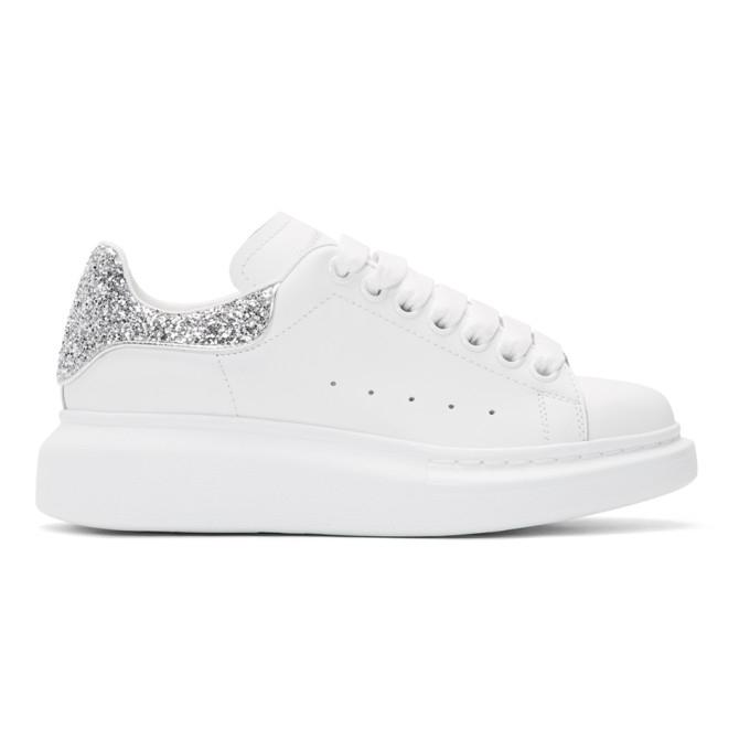 Alexander McQueen SSENSE Exclusive White & Silver Glitter Oversized Sneakers