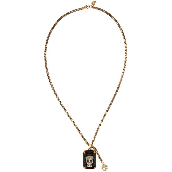 Alexander McQueen Black Crystal Skull Necklace