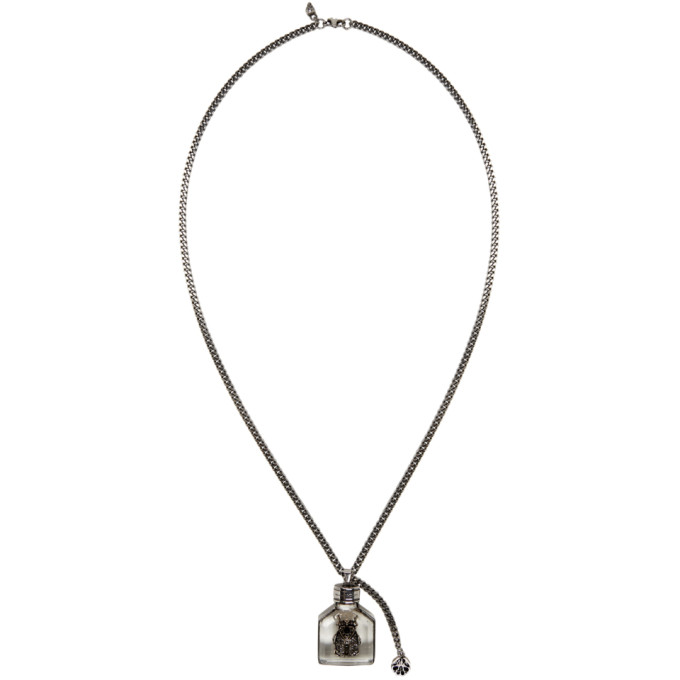 Alexander McQueen Silver Beetle Charm Necklace