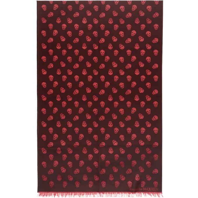 Alexander McQueen Foulard noir et rouge All Over Skull