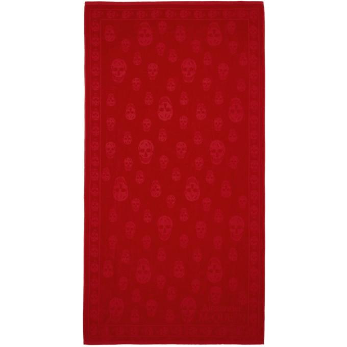 ALEXANDER MCQUEEN | Alexander McQueen Red Skulls Towel | Goxip