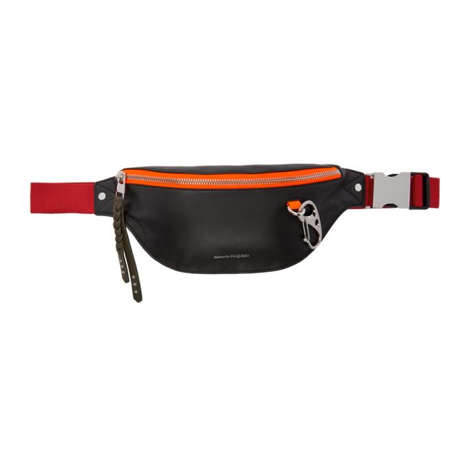 Alexander Mcqueen Black And Red Harness Belt Bag in 1060 Bk/Red