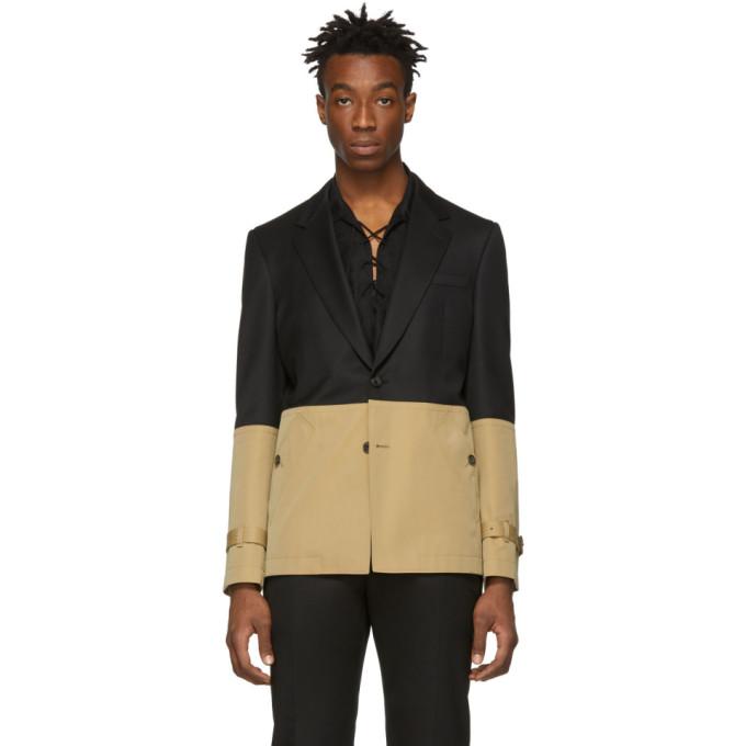 Image of Alexander McQueen Black & Beige Hybrid Blazer