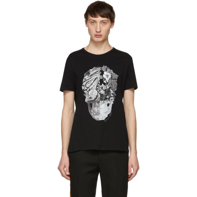 c5f97396 Alexander Mcqueen Printed Cotton-Jersey T-Shirt - Black In 0901 Bk/Mix