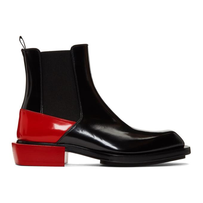 Alexander McQueen Black & Red Half Chelsea Boots