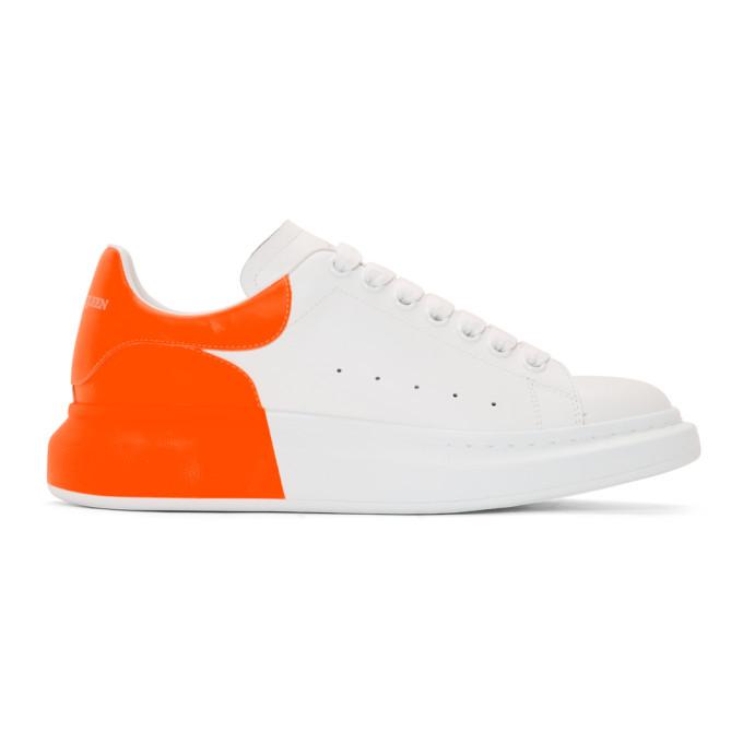 ALEXANDER MCQUEEN | Alexander McQueen White And Orange Oversized Sneakers | Goxip