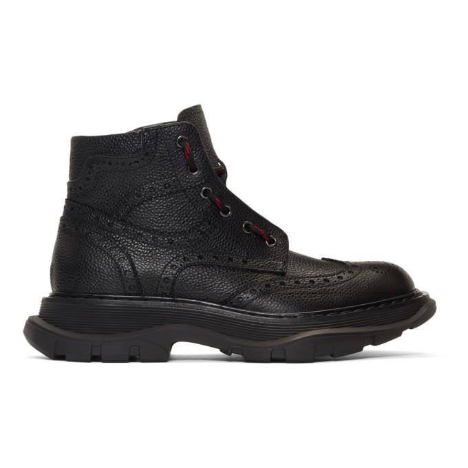 Image of Alexander McQueen Black Brogue Tread Boots