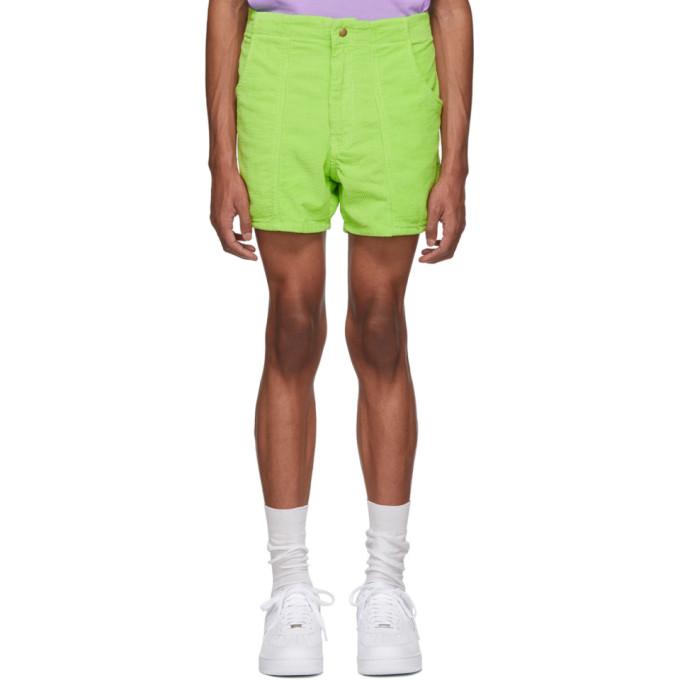 ERL Green Corduroy Shorts