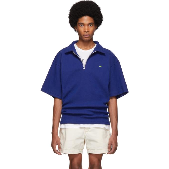 ERL Polo en maille de velours cotele bleu