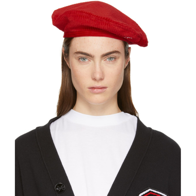 Opening Ceremony OPENING CEREMONY RED CORDUROY BERET