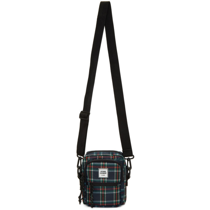 OPENING CEREMONY | Opening Ceremony Navy and Red Plaid Messenger Bag | Goxip