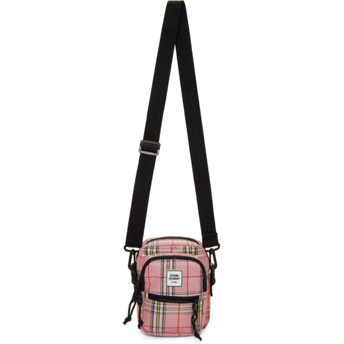 OPENING CEREMONY | Opening Ceremony Pink and Black Plaid Messenger Bag | Goxip