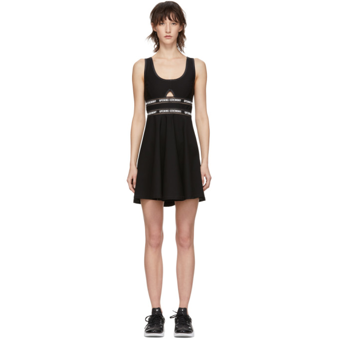 Logo Waist Cutout Fit & Flare Dress in 0001 Black