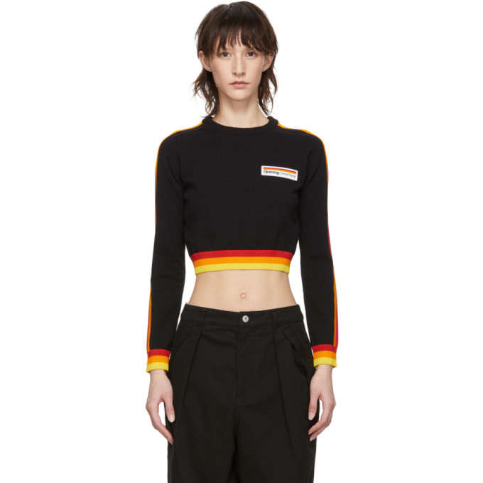 OPENING CEREMONY Cropped Striped Cotton Sweater in 0002 Blackm