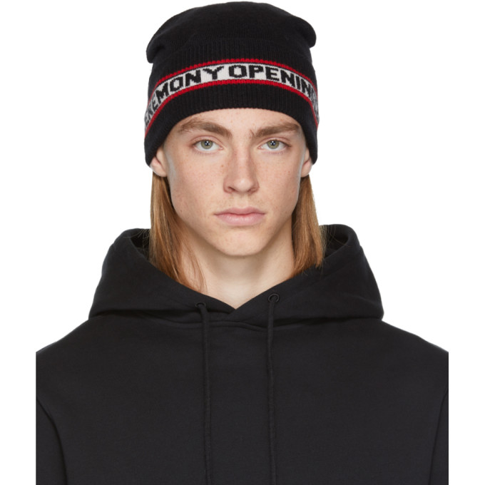 Opening Ceremony Black Angora Logo Beanie In 0001 Black ... 39d8f9e71a6
