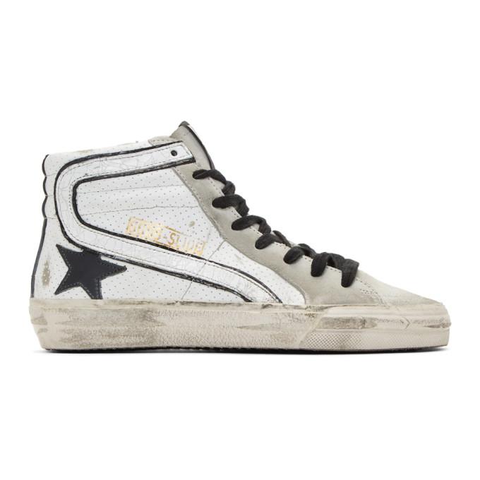 Golden Goose White & Grey Slide Sneakers