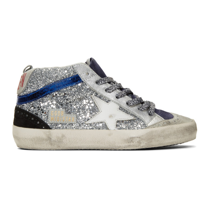 Golden Goose Silver Glitter Mid Star Sneakers