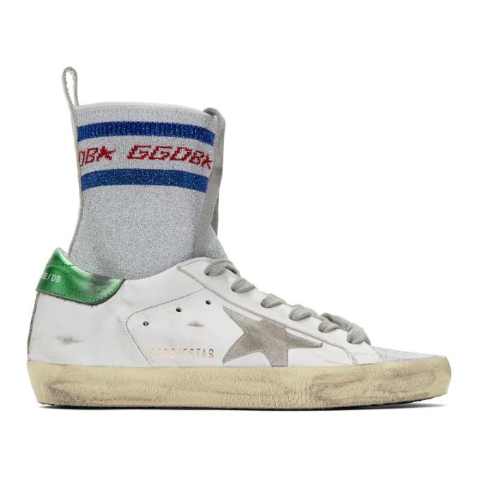 GOLDEN GOOSE DELUXE BRAND   Golden Goose White Superstar Sock High-Top Sneakers   Goxip