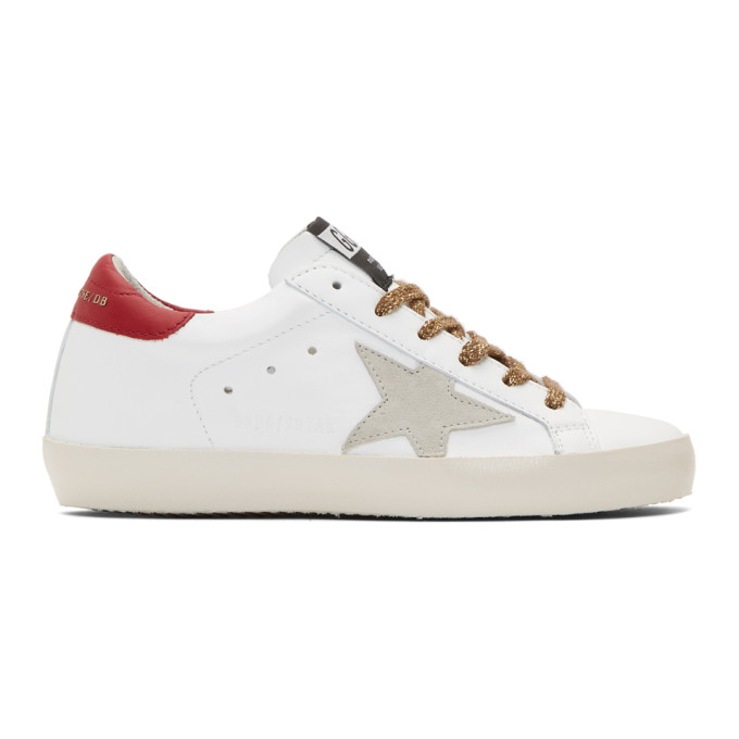 Golden Goose White and Gold Lettering Superstar Sneakers