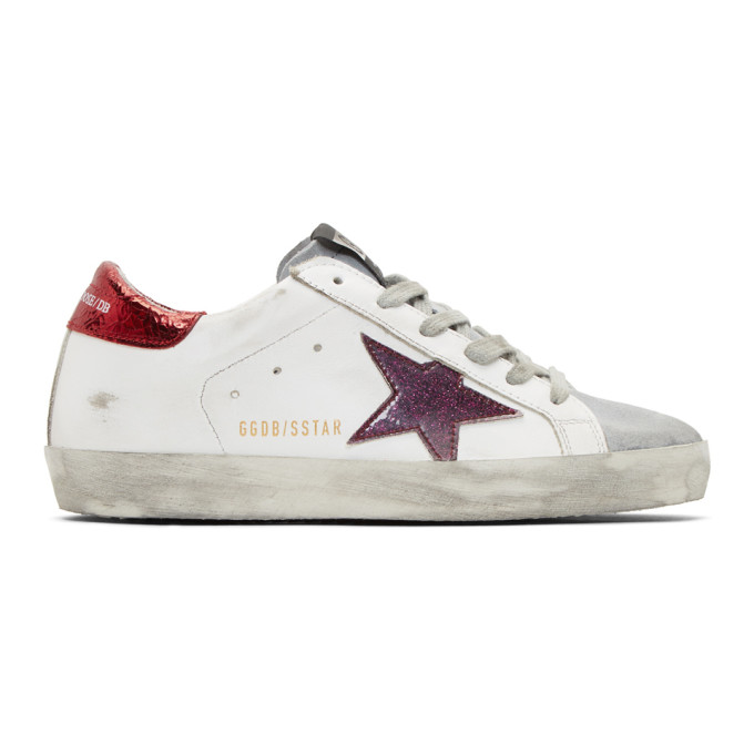 Golden Goose White & Red Sparkle Superstar Sneakers