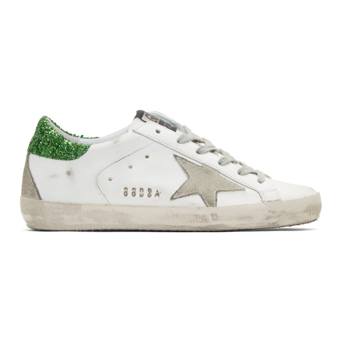 Golden Goose White and Green Glitter Superstar Sneakers