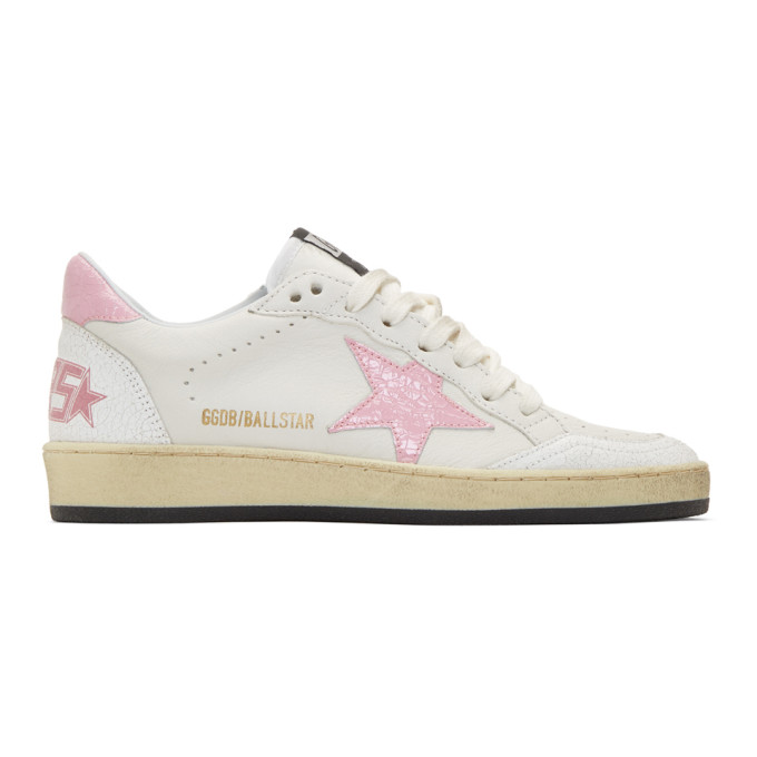 Golden Goose White & Pink Ball Star Sneakers