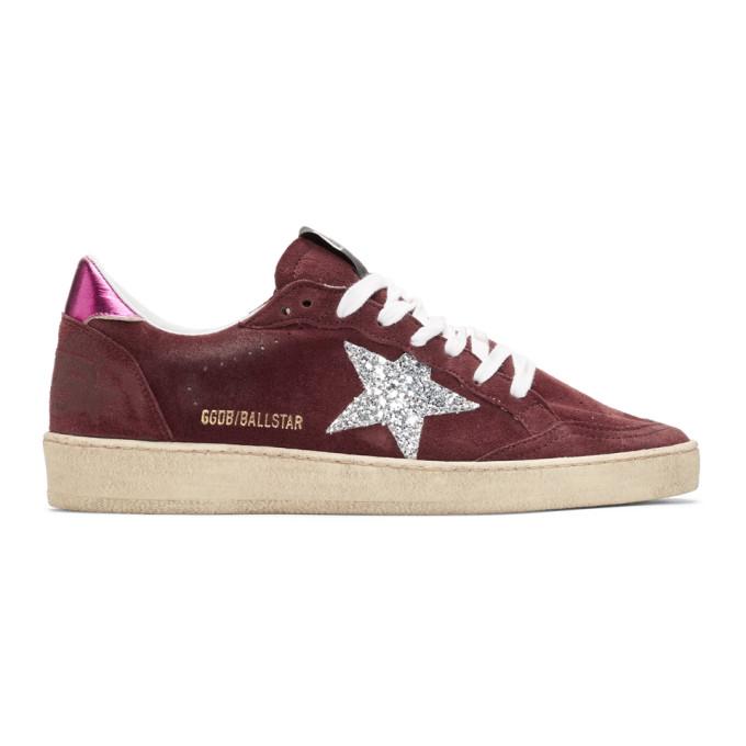Golden Goose Purple & Pink Glitter Ball Star Sneakers