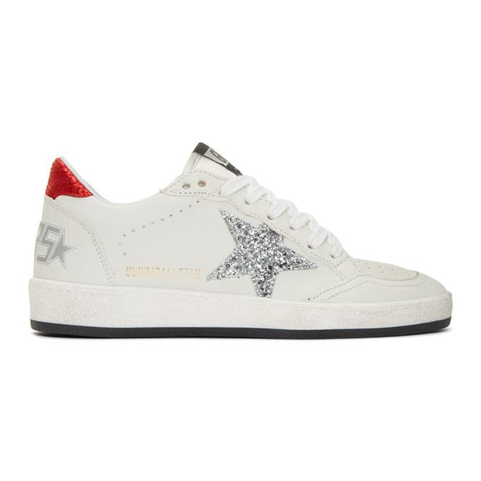 Golden Goose White Glitter Ball Star Sneakers