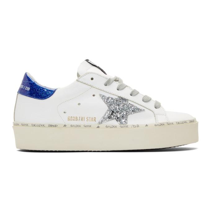 Golden Goose White & Blue Glitter Hi-Star Sneakers