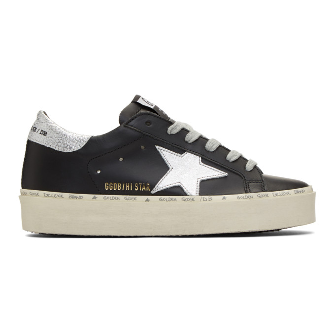 Golden Goose Black and Silver Hi-Star Sneakers