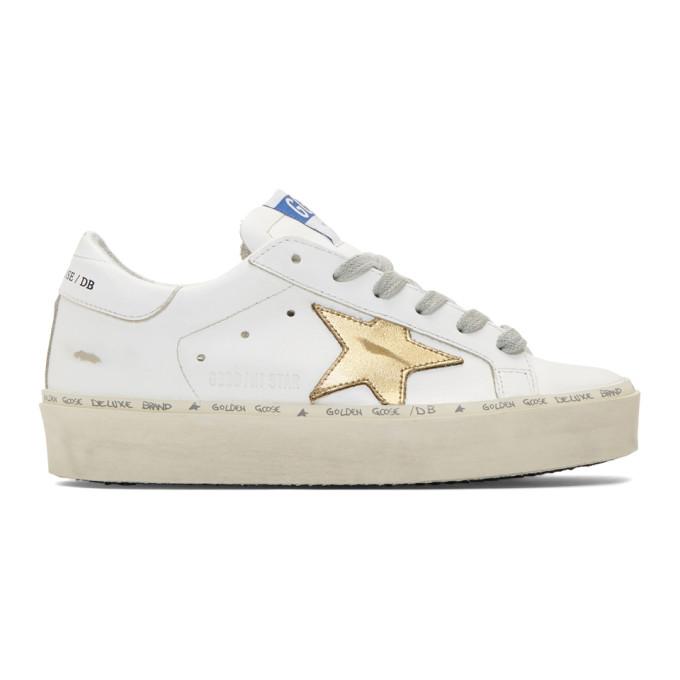 Golden Goose White & Gold Hi Star Sneakers