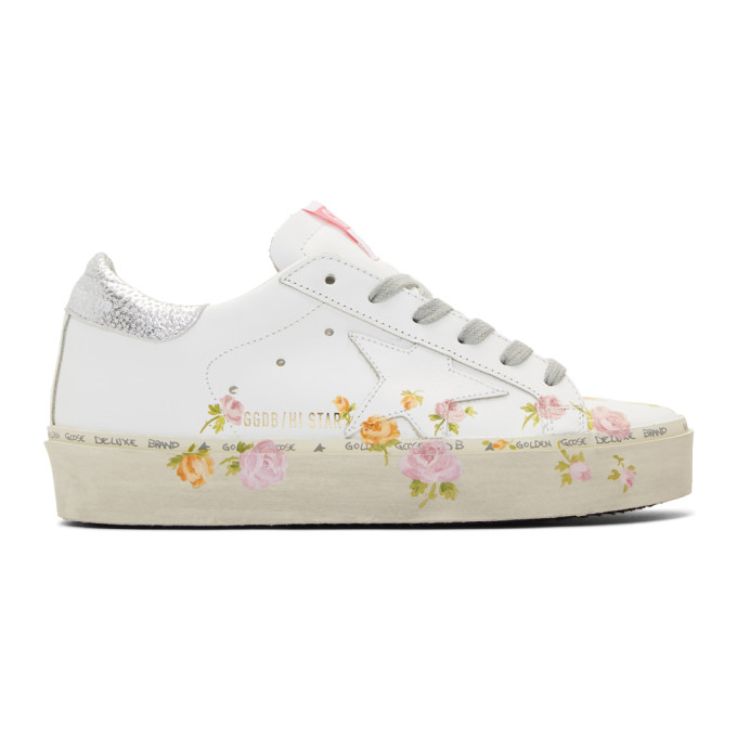Hi Star Floral-Print Leather Platform Sneakers in White