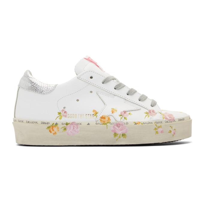 Golden Goose White Hi Star Flower Sneakers