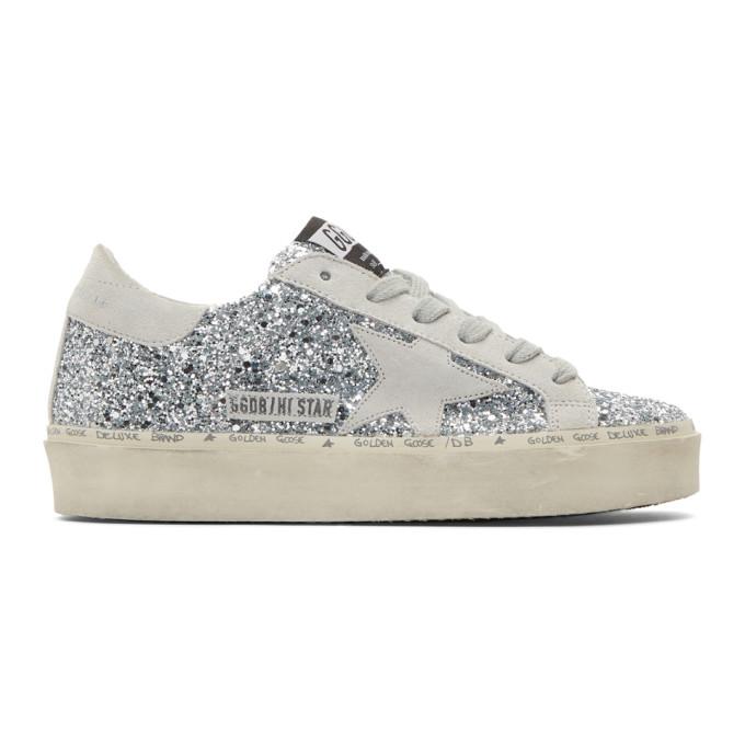 Golden Goose Silver Glitter Hi Star Sneakers