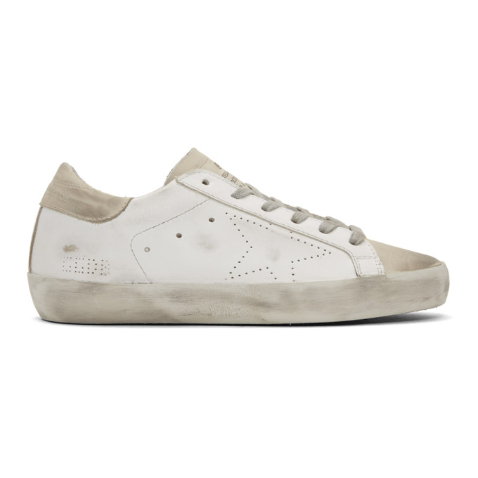 Golden Goose White & Grey Perforated Superstar Sneakers