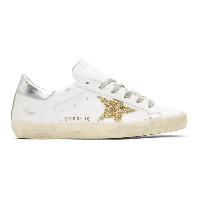 Golden GooseWhite and Silver Glitter Superstar Sneakers