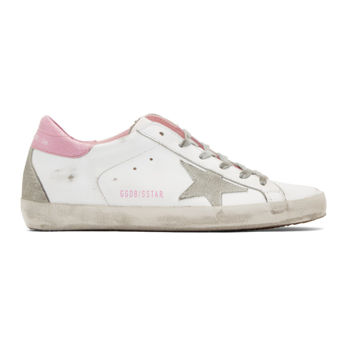 Golden Goose White and Pink Superstar Sneakers