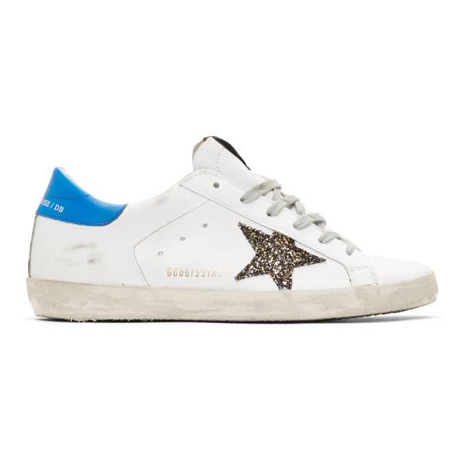 Golden Goose White and Blue Glitter Superstar Sneakers