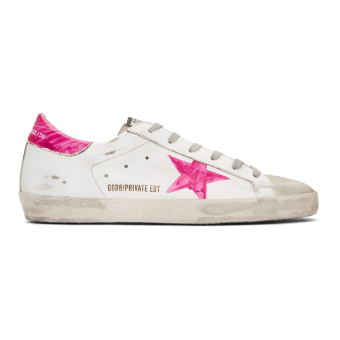 Golden GooseWhite and Pink Wednesday Superstar Sneakers