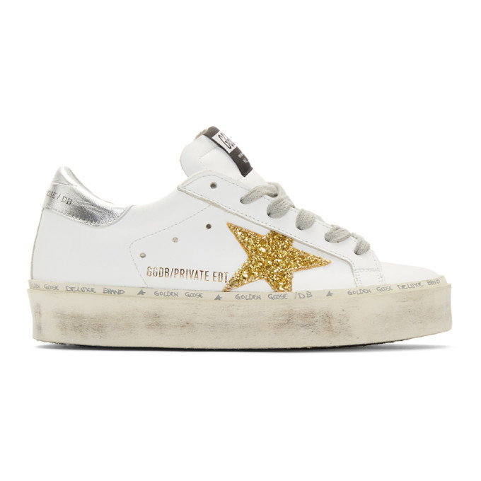 Golden GooseWhite and Gold Glitter Hi-Star Sneakers