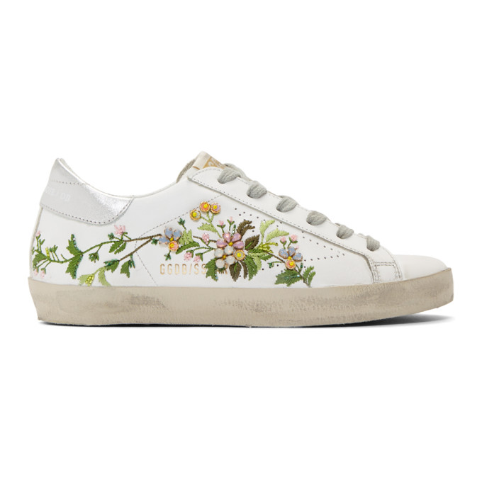 Golden Goose White Flowers Embroidered