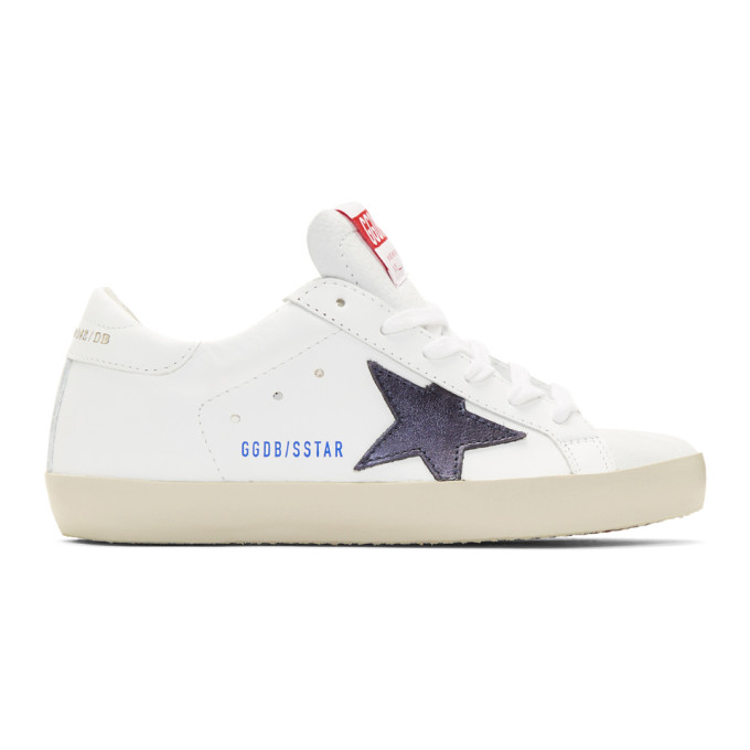 Golden Goose White and Navy Clean Superstar Sneakers