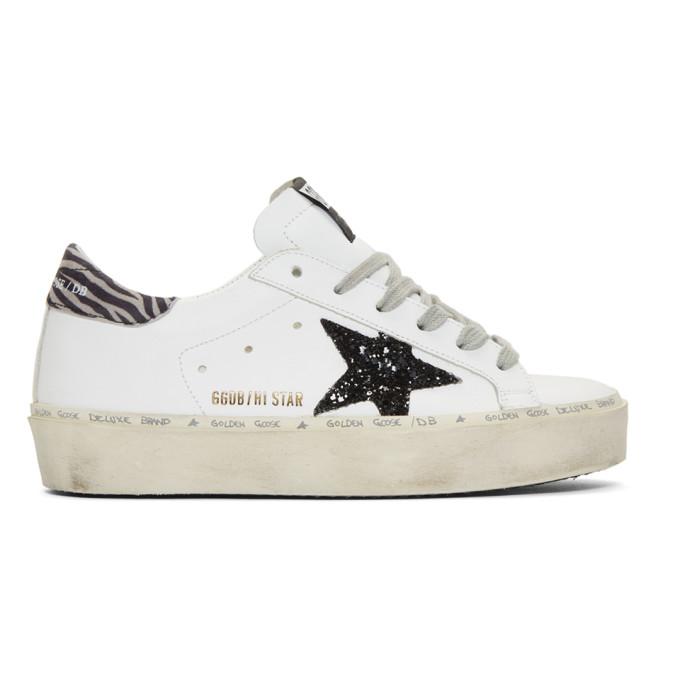 Golden Goose White Glitter Hi-Star Sneakers