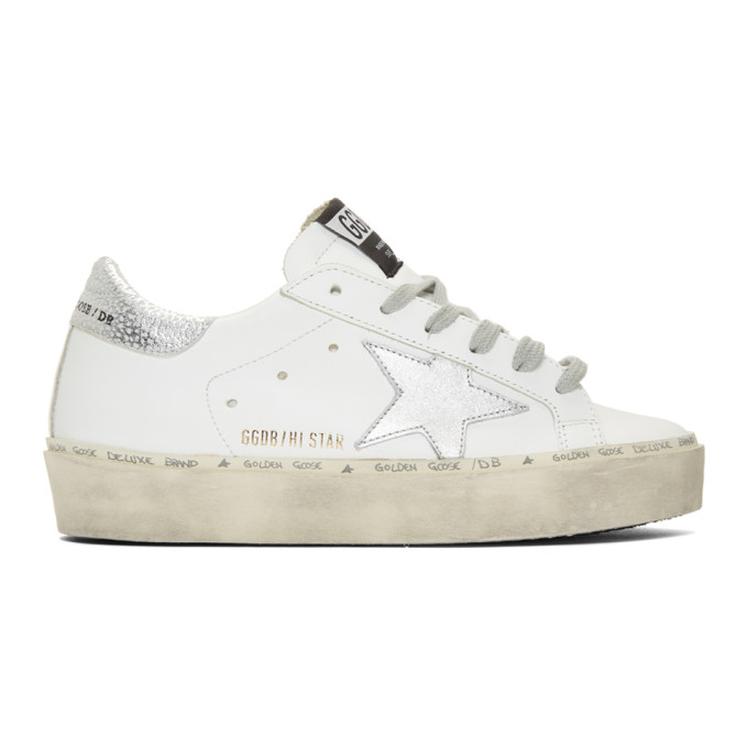 Golden Goose White and Silver Hi-Star Sneakers