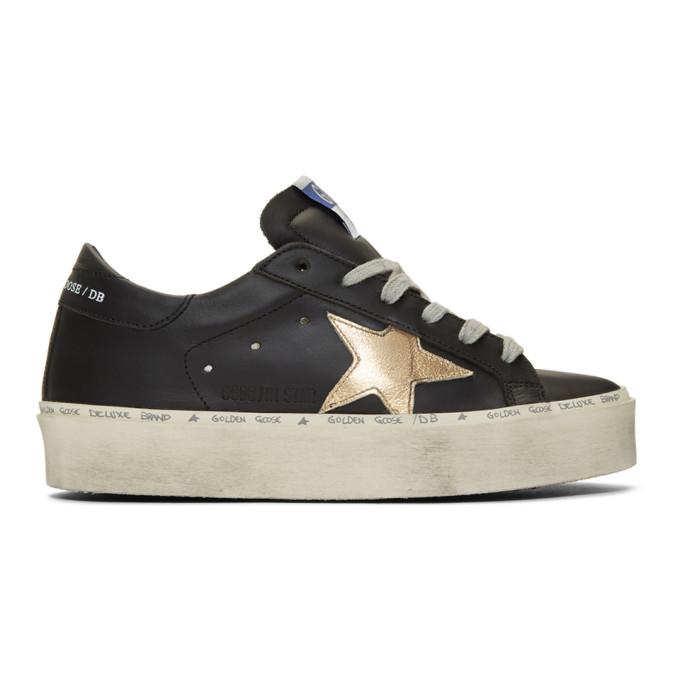 Golden Goose Black and Gold Hi-Star Sneakers